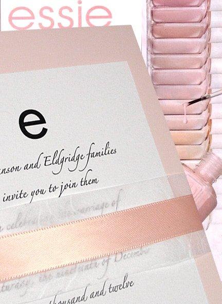 Pale Pink Wedding Invitations with Unryu & Ribbon Wrap