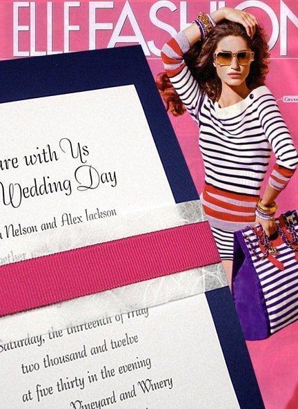 Modern Nautical Navy and Fuchsia DIY Wedding Invitations