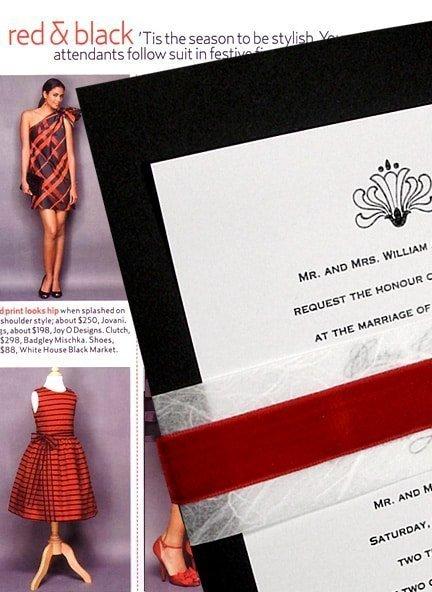 Black DIY Wedding Invitations with Red Velvet Wrap
