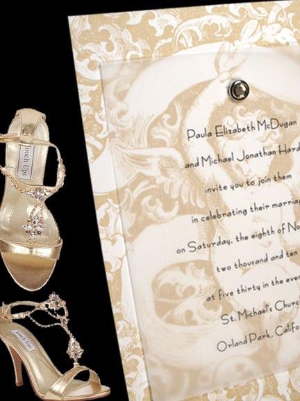 Vintage Cherub DIY Wedding Invitation with Jewel Brad