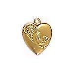 Large Heart Brass Charms