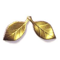 Brass Pair of Leaves Charms