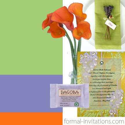 Summer Wedding Colors in Pear, Lavender and Orange