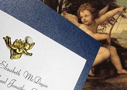 DIY Wedding Invitations with Brass Cupid Charm