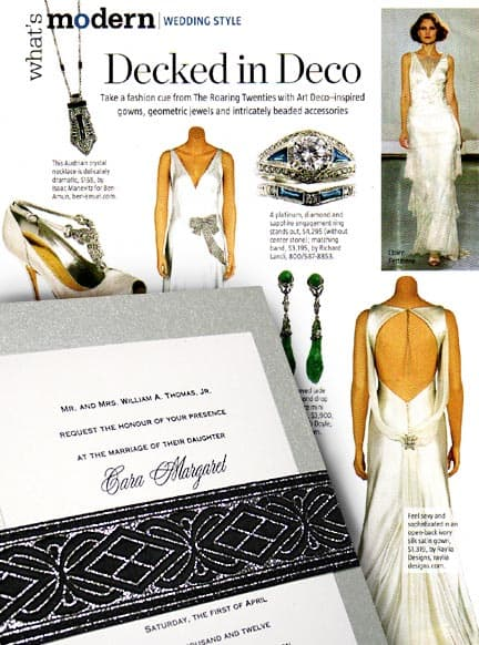 Silver Art Deco DIY Wedding Invitations with Embroidered Wrap