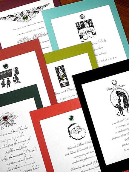 DIY Vintage Holiday Invitations with Crystal Brads