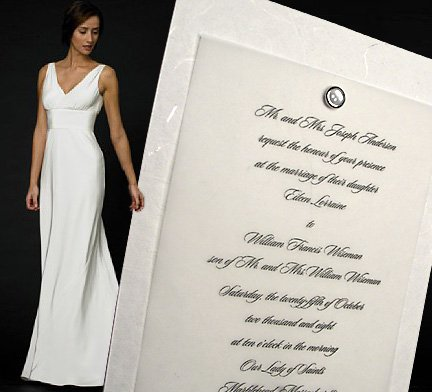 Handmade Silky Paper Wedding Invitations with Pearl Brad
