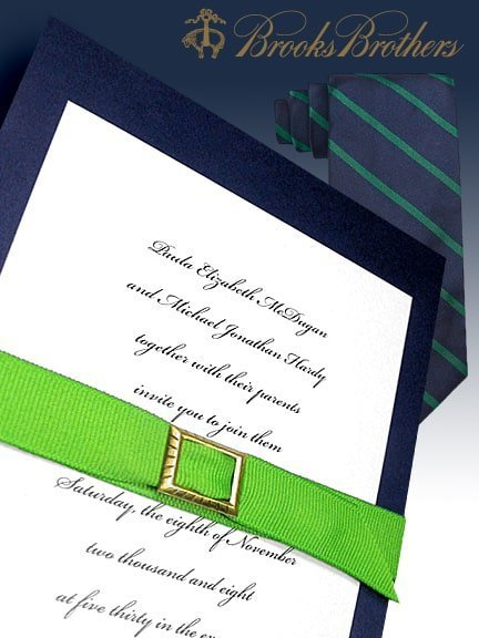 Navy and Apple Green DIY Wedding Invitations with Belt