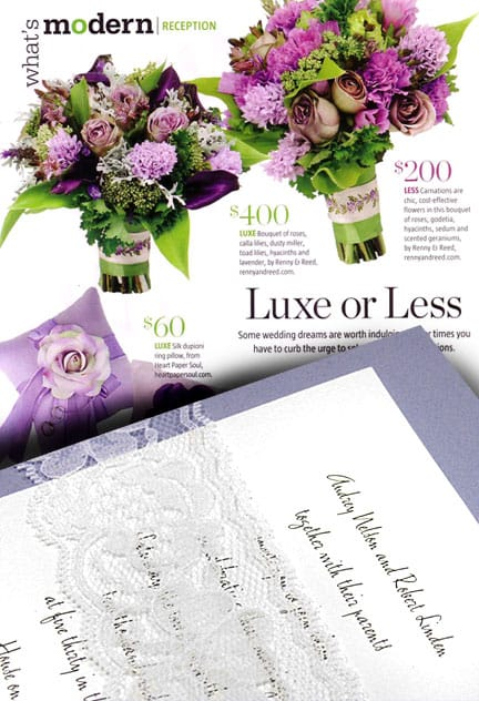 Lavender DIY Wedding Invitations with Lace Wrap