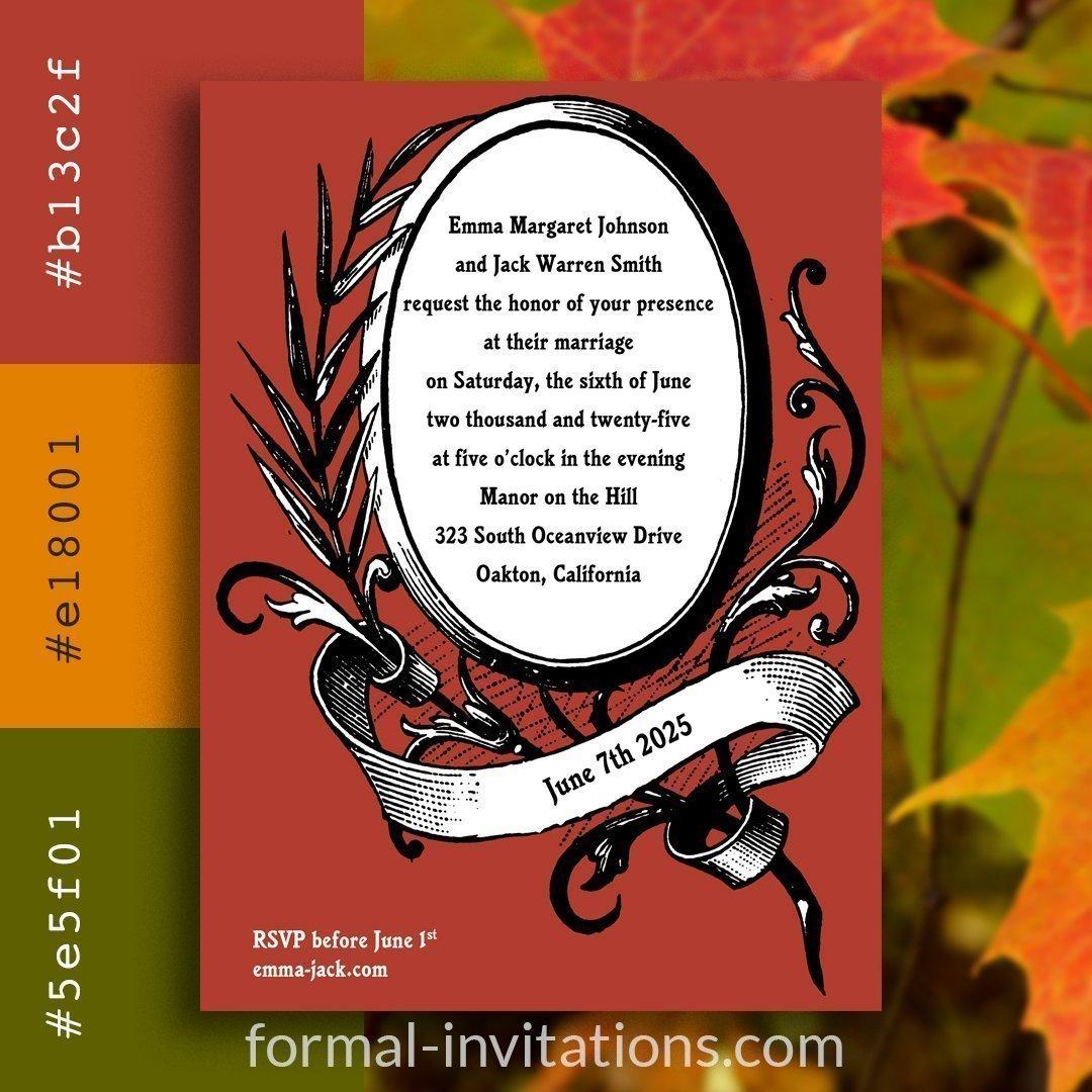 Fall Red Leaf Vintage Wedding Invitations