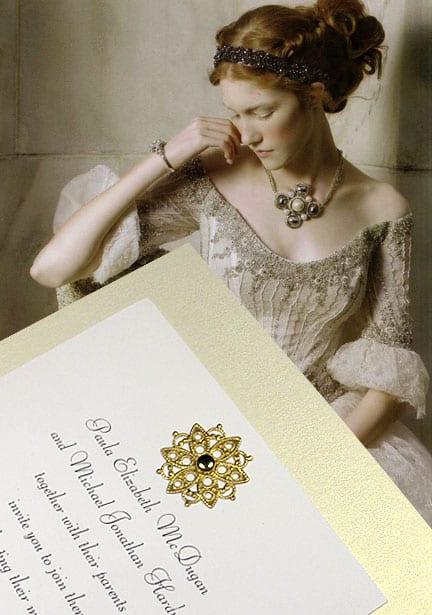 DIY Wedding Invitations featuring Lacy Brass Medallion Embellishment