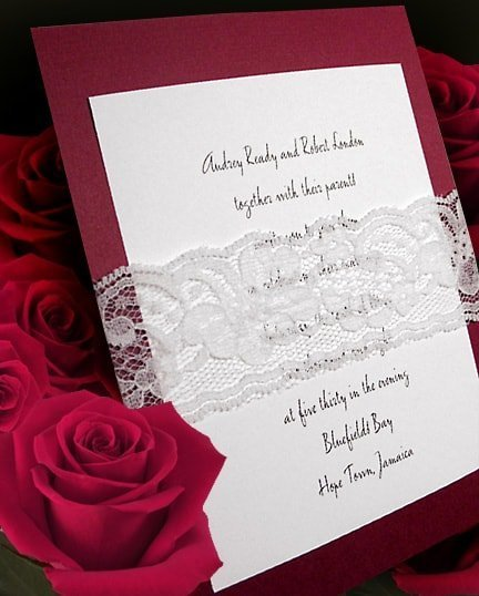 DIY Red Wedding Invitations with Lace Wrap