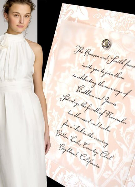 Romantic Wedding Invitations with Vintage Floral Cardstock