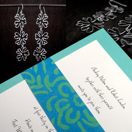 Aqua Blue DIY Wedding Invitations with Island Inspired Wrap