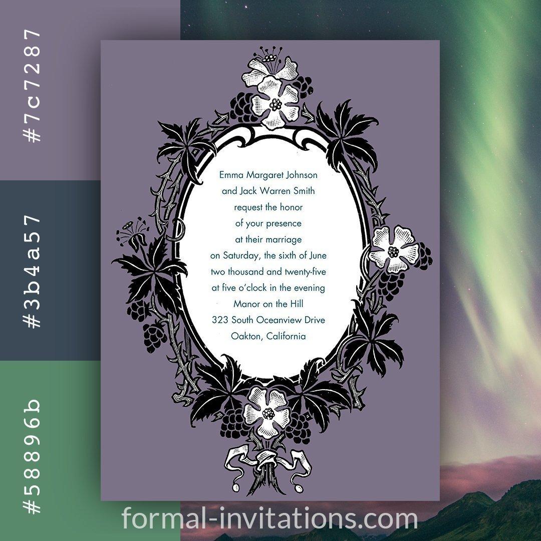 Northern Lights Purple Vintage Wedding Invitations