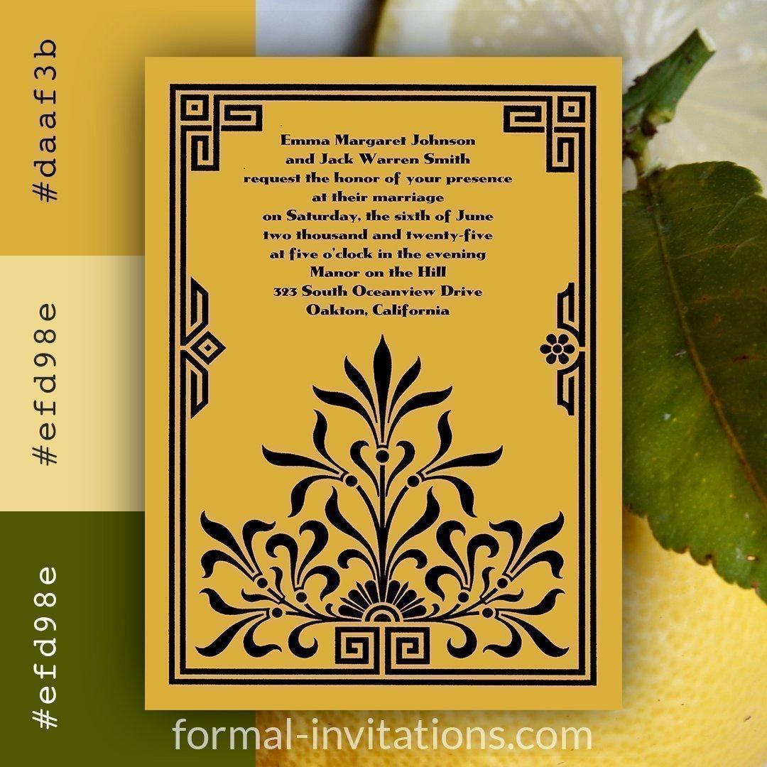 Lemon Yellow Vintage Wedding Invitation