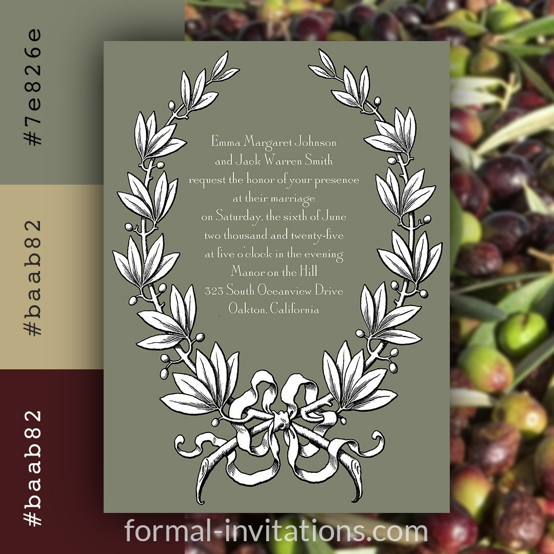 olive green vintage wedding invitation