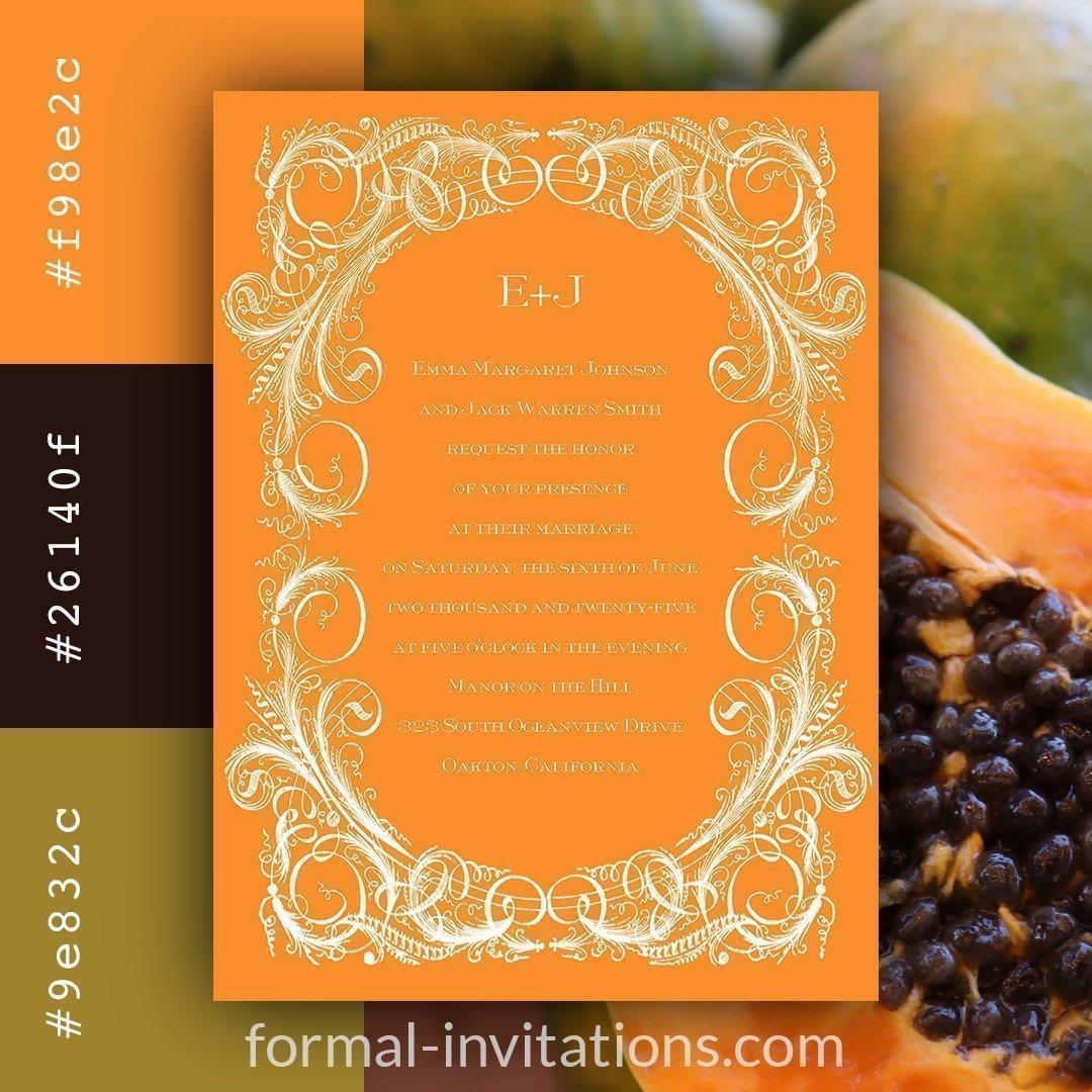 Papaya Orange Vintage Wedding Invitations