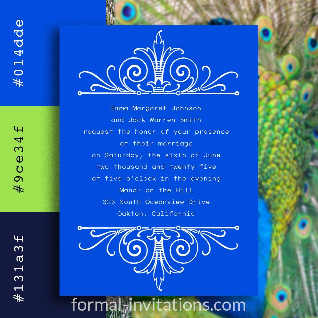 Peacock Blue Vintage Wedding Invitations