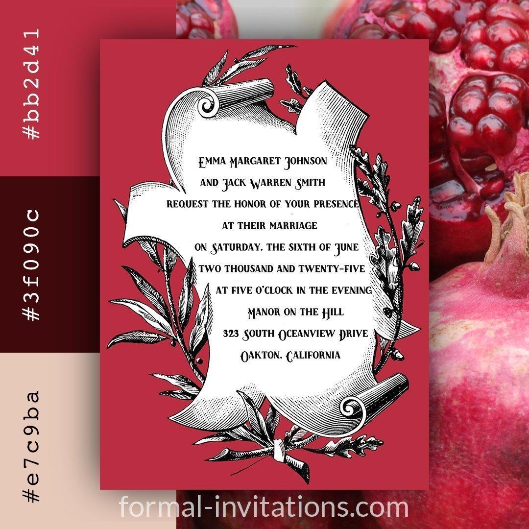 Pomegranate Red Vintage Scroll Wedding Invitations