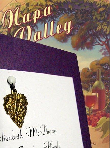 Purple DIY Winery Wedding Invitations with Grapes Charm
